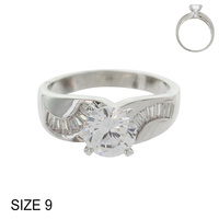 CZ ENGAGEMENT RING W/ LRG CENTER STONE