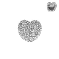 RHINESTONE HEART SHAPE STRETCH RING