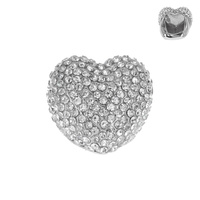 LRG RHINESTONE HEART STRETCH RING