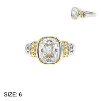 SIZED CZ RING W/ 2 TONE BAND