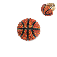 Stone Encrusted Basketball Stretch Ring Rl020
