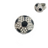Stone Encrusted Soccer Ball Stretch Ring