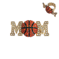 Stone Encrusted Mom With Basketball Stretch Ring Rl024