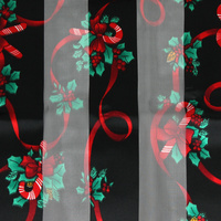 LONG REC CANDY CANE W/ HOLLY THEME SCARF
