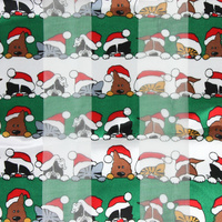 CHRISTMAS THEME CATS AND DOG SATIN STRIP SCARF