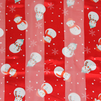 SNOWMAN THEME W/ SNOW FLAKE SATIN STRIP SCARF