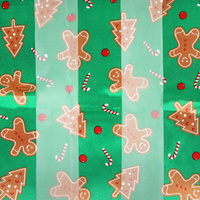 GINGER BREAD THEME SATIN STRIP SCARF