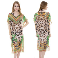 LONG STONE STUDDED MIXED PRINT PONCHO