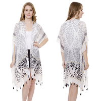 LONG ABSTRACT PRINT COVER UP KIMONO W/ TASSELS