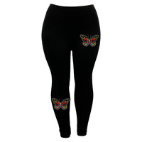 LEGGINGS W/BUTTERFLY HOTFIX PRINT