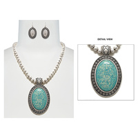 SILVER BEADED NECKLACE SET W/ OPAL PENDANT