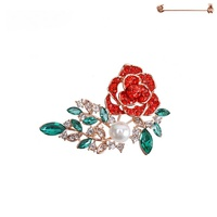 DIAMOND STUD ROSE BROOCH