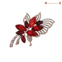 FLOWERED BROOCH W/STONES AND SEQUIN RED