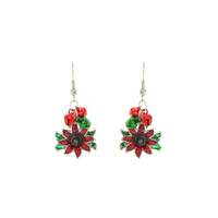 DANGLY POINTSETTIA HOOK EARRING