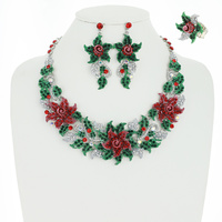 RHINESTONE POINSETTIA 3 PC SET