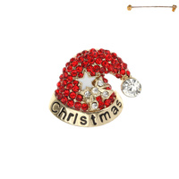 CHRISTMAS HAT BROOCH W/GEMS