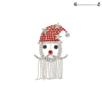 RHINESTONE SANTA FACE PIN W/DANGLY BEARD