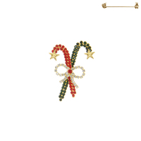 RHINESTONE CHRISTMAS CANDY CANE W/ BOW PIN