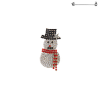 RHINESTONE SNOWMAN BROACH W/ HAT AND SCARF