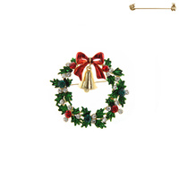 CHRISTMAS WREATH WITH BELL BROOCH