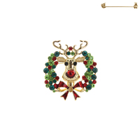 RHINESTONE WREATH BROOCH W/ REINDEER HEAD