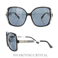 BLACK SUNGLASS W/ SWARVOSKI CRYSTAL SIDE AND LEGS