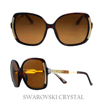 BROWN SUNGLASS W/ SWARVOSKI CRYSTAL SIDE AND LEGS