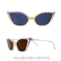 CAT EYE SHAPE SWARVOSKI CRYSTAL SUNGLASS