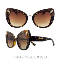 LRG CAT EYE SHAPE SWARVOSKI CRYSTAL SUNGLASS