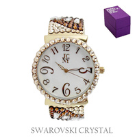 SWAROVSKI CRYSTAL RND FACE BANGLE WATCH
