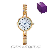 THIN ELEGANT SWAROVSKI CRYSTAL RND FACE WATCH