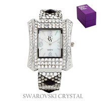 RECTANGLE FACE SWAROVSKI CRYSTAL BANGLE WATCH