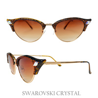 CAT EYE FRAME SUNGLASS W/ SWARVOSKI CRYSTAL TIPS