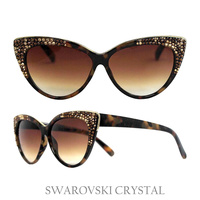CAT EYE SUNGLASS W/ SWAROVSKI CRYSTAL TIPS