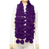 4 Line Real Rabbit Fur Pom Pom Scarf